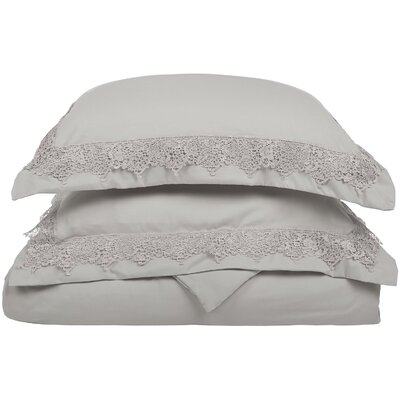Smith Reversible Duvet Set Color: Gray, Size: Full / Queen