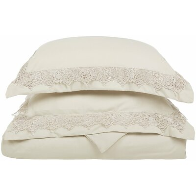 Smith Reversible Duvet Set Size: King / California King, Color: Ivory