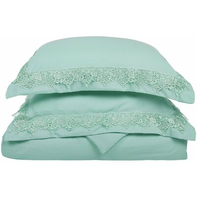 Smith Reversible Duvet Set Color: Mint, Size: Full / Queen