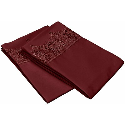 Smith Solid Regal Lace Embroidery Pillowcase Color: Burgundy, Size: King