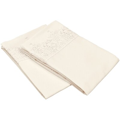 Smith Solid Regal Lace Embroidery Pillowcase Color: Ivory, Size: King