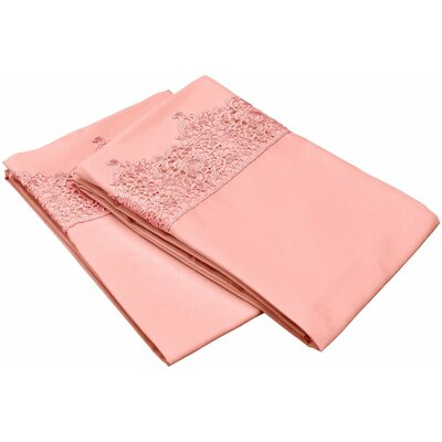 Smith Solid Regal Lace Embroidery Pillowcase Size: Standard, Color: Pink