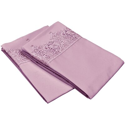 Smith Solid Regal Lace Embroidery Pillowcase Color: Purple, Size: King