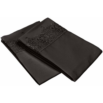 Smith Solid Regal Lace Embroidery Pillowcase Color: Black, Size: King