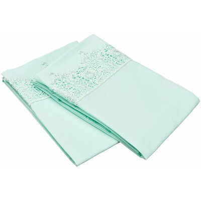 Smith Solid Regal Lace Embroidery Pillowcase Color: Mint, Size: King