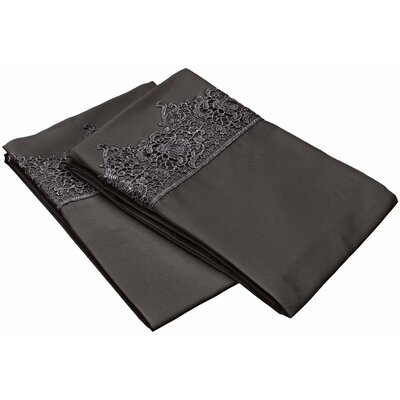 Smith Solid Regal Lace Embroidery Pillowcase Color: Charcoal, Size: King