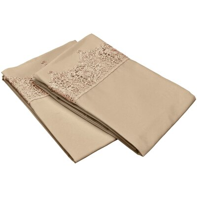 Smith Solid Regal Lace Embroidery Pillowcase Size: King, Color: Tan