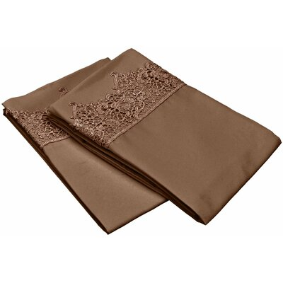 Smith Solid Regal Lace Embroidery Pillowcase Size: King, Color: Taupe