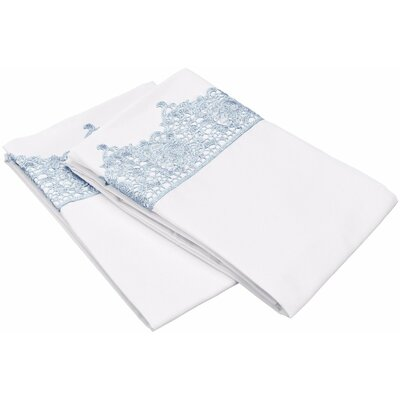 Smith Solid Regal Lace Embroidery Pillowcase Size: King, Color: White/Light Blue