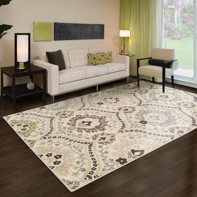 Jenn Ivory/Green Area Rug Rug Size: Rectangle 4 x 6