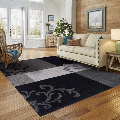 Elegant Scroll Black Area Rug Rug Size: 5' x 8'
