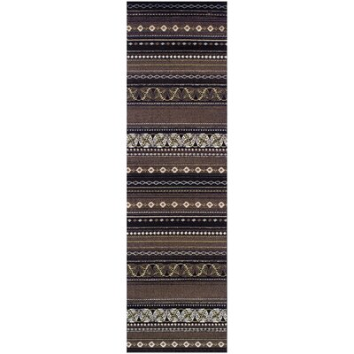 Martina Black/Beige Area Rug Rug Size: Runner 27 x 8