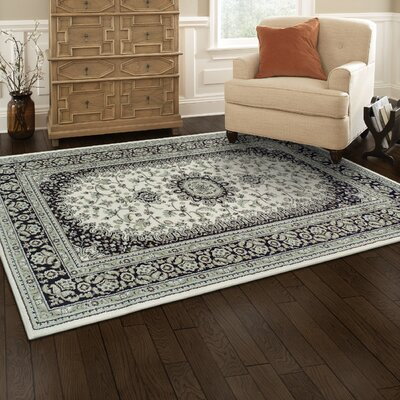 Vassar Ivory/Black Area Rug Rug Size: Rectangle 2 x 3