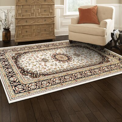 Destine Ivory/Red Area Rug Rug Size: 5 x 8