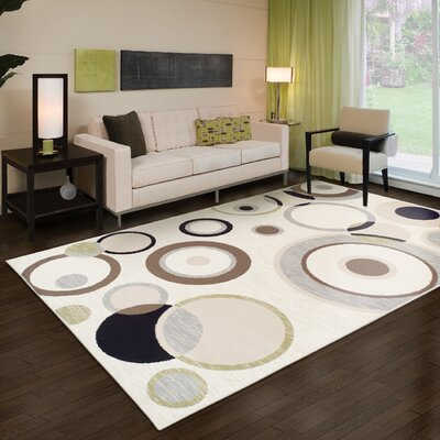 Yates Cream/Black Area Rug Rug Size: 8 x 10