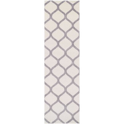 Modern Trellis Ivory/Silver Area Rug Rug Size: Runner 27 x 8