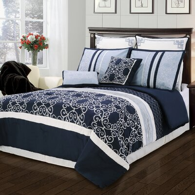 Clarissa 8 Piece Comforter Set Size: King