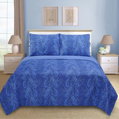 Moroccan Paisley Reversible Quilt Set Size: Full/Queen, Color: Navy