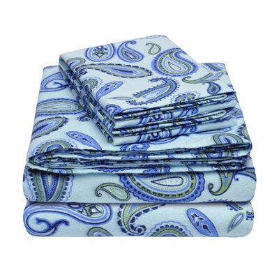 100% Cotton Flannel Sheet Set Size: Full, Color: Light Blue Paisley