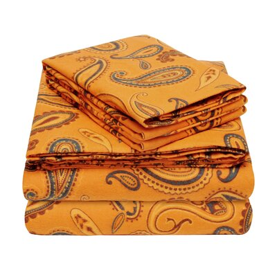 100% Cotton Flannel Sheet Set Size: Full, Color: Pumpkin Paisley