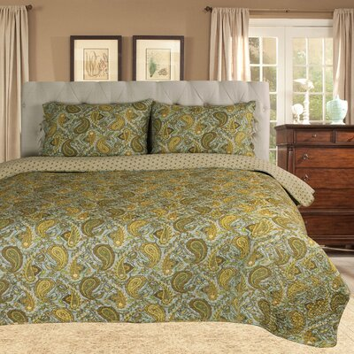 Moroccan Paisley Reversible Quilt Set Size: Full/Queen, Color: Green