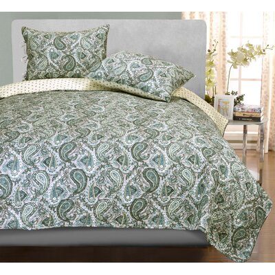 Moroccan Paisley Reversible Quilt Set Size: King, Color: Grey