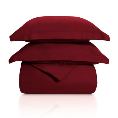 Benito Solid Duvet Cover Set Color: Burgundy, Size: King/California King