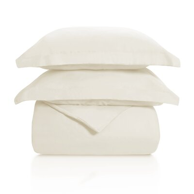 Benito Solid Duvet Cover Set Color: Ivory, Size: Full/Queen