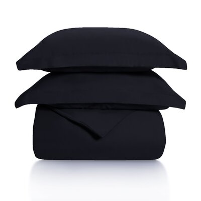 Benito Solid Duvet Cover Set Color: Black, Size: Twin