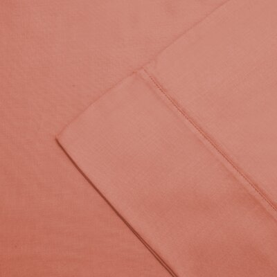 Larksville 300 Thread Count Cotton Wrinkle Resistant Pillow Case Color: Coral, Size: King