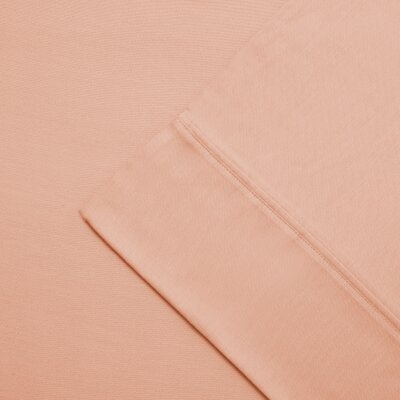 Cullen 300 Thread Count Cotton Wrinkle Resistant Pillow Case Color: Peach, Size: King