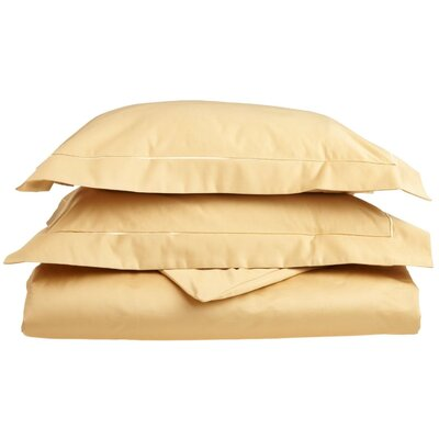 100% Cotton 3 Piece Duvet Cover Set Color: Gold-Gold, Size: Full / Queen