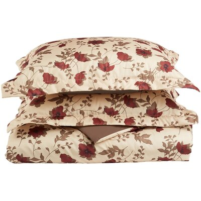 Impressions Reversible Duvet Cover Set Color: Taupe, Size: Full/Queen