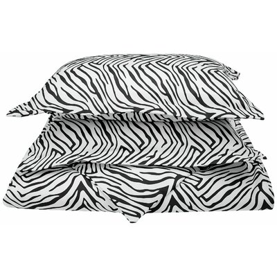 Impressions Reversible Duvet Cover Set Color: Black, Size: Full/Queen