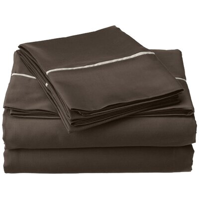 Bahama 600 Thread Count Sheet Set Color: Grey with Silver Trim, Size: Queen