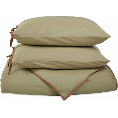 Bahama Reversible Duvet Cover Set Color: Sage with Mocha Trim, Size: Twin