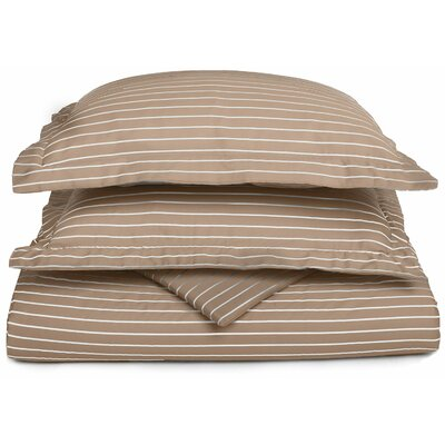 Bahama Reversible Duvet Cover Set Color: Taupe / White, Size: King / California King