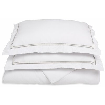 Garrick Embroidered Reversible Duvet Set Size: King / California King, Color: White/Gray