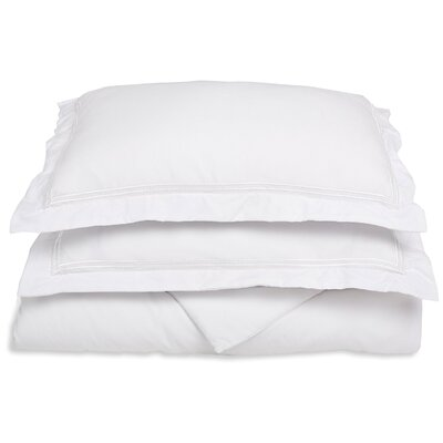 Garrick Embroidered Reversible Duvet Set Size: King / California King, Color: White