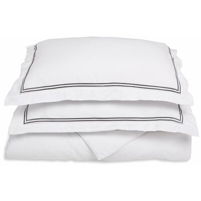 Garrick Embroidered Reversible Duvet Set Color: White/Black, Size: Twin / Twin XL