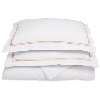 Garrick Embroidered Reversible Duvet Set Color: White/Gold, Size: Full / Queen