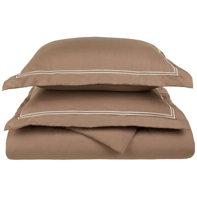 Garrick Embroidered Reversible Duvet Set Size: Full / Queen, Color: Taupe/Ivory