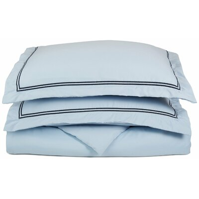Garrick Embroidered Reversible Duvet Set Size: Full / Queen, Color: Light Blue/Navy Blue