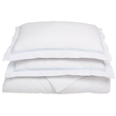 Garrick Embroidered Reversible Duvet Set Color: White/Blue, Size: Full / Queen