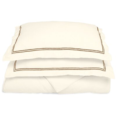 Garrick Embroidered Reversible Duvet Set Size: Full / Queen, Color: Ivory/Taupe