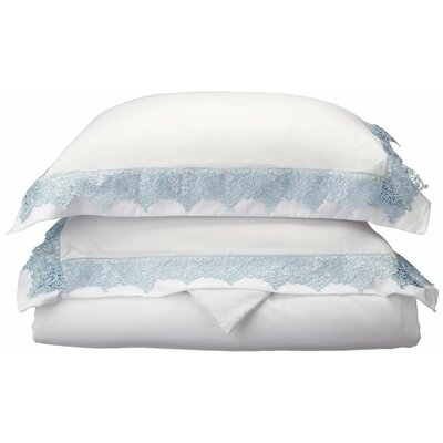 Smith Reversible Duvet Set Color: White/Light Blue, Size: Full / Queen