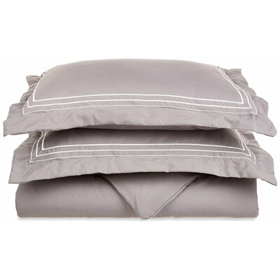 Garrick Embroidered Reversible Duvet Set Size: Twin / Twin XL, Color: Gray/White