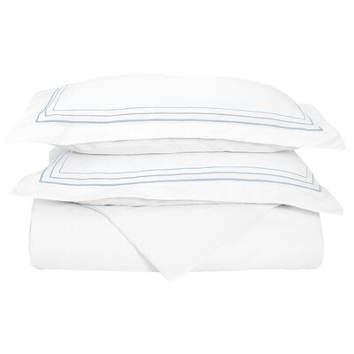 Garrick Embroidered Reversible Duvet Set Size: Twin / Twin XL, Color: White/Blue