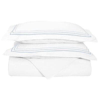 Garrick Embroidered Reversible Duvet Set Color: White/Blue, Size: Full / Queen