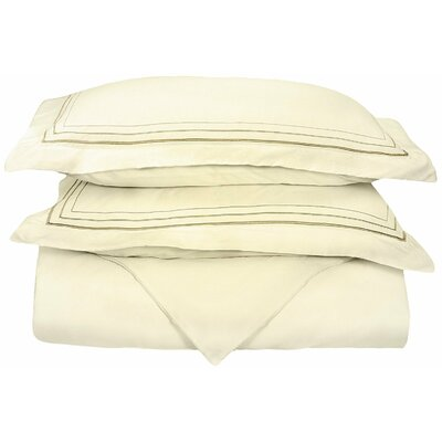 Garrick Embroidered Reversible Duvet Set Color: Ivory/Taupe, Size: King / California King